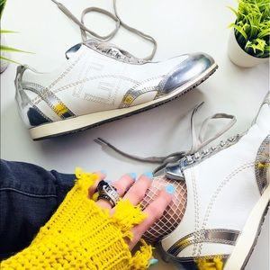 Fendi Authentic Metallic Logo Sneakers 38 Rare 🔥